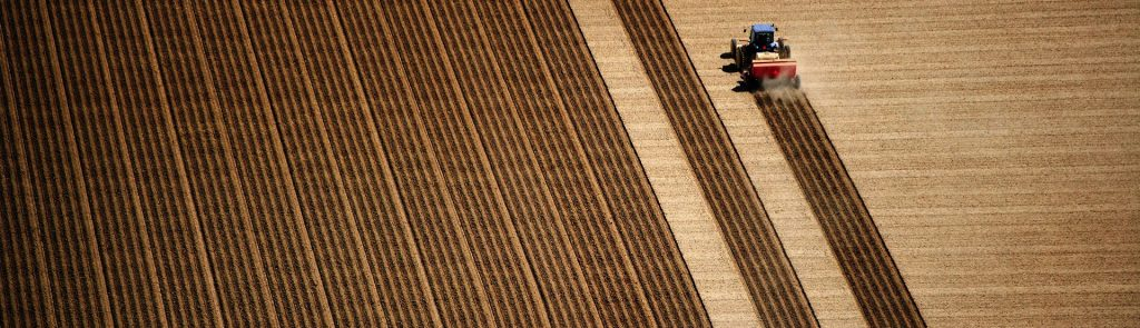 Tractor ploughing fields
